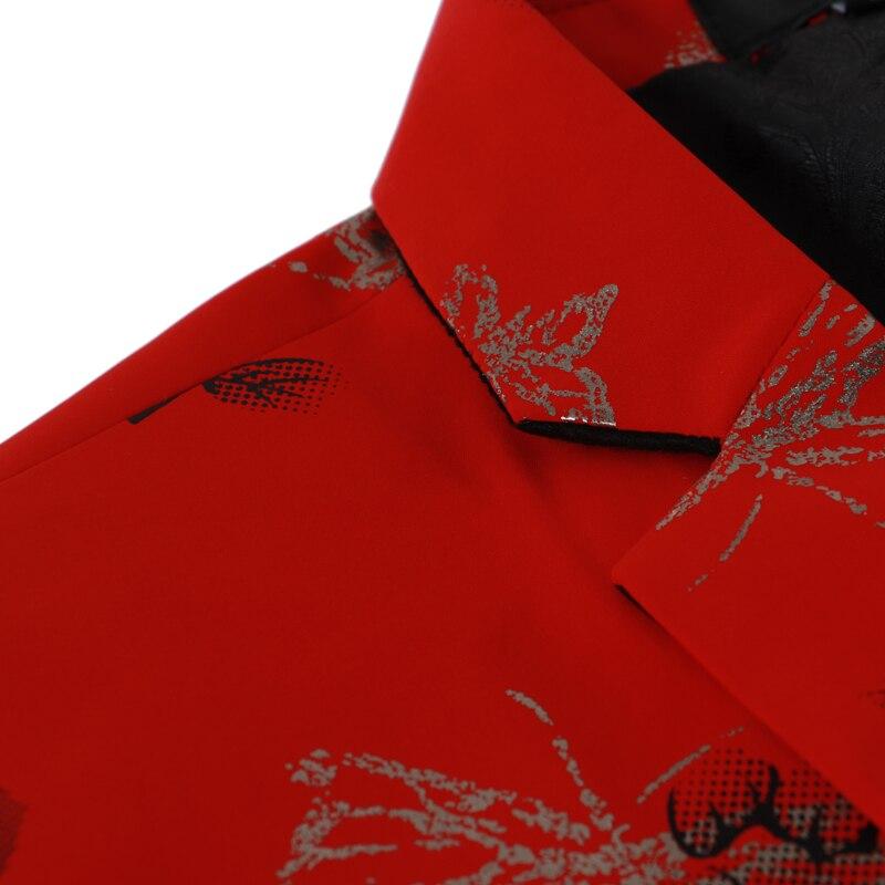 Blazers Parti 2018 Hommes navy Slim Deux Costume black Mariage Poitrine Blazer De Unique Boutons Red Floral Rouge Revers Imprimé Veste Mode Entaillé NOvm0w8n