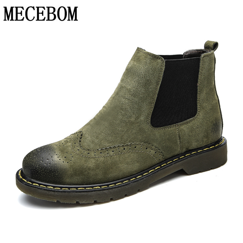 Men's Brogue style boots new genuine leather ankle boots slip-on casual shoes men ankle boots moccasins size 39-44 932m pinsv british style mens chelsea boots elegant slip on men ankle boots pu leather trendy casual shoes men size 39 44