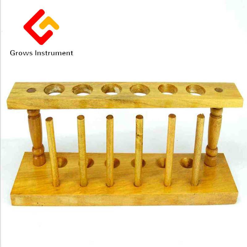 Estante de tubo de prueba de madera 6 orificios soporte de Burette soporte de tubo de prueba de laboratorio estante de suministro de laboratorio