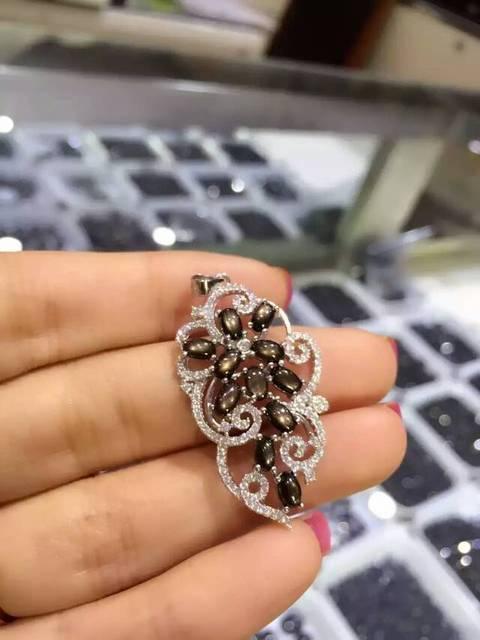 Starlight zafiro natural colgante de plata de Ley 925 Natural Colgante de piedras preciosas Collar de moda Elegante Hojas joyería de las mujeres