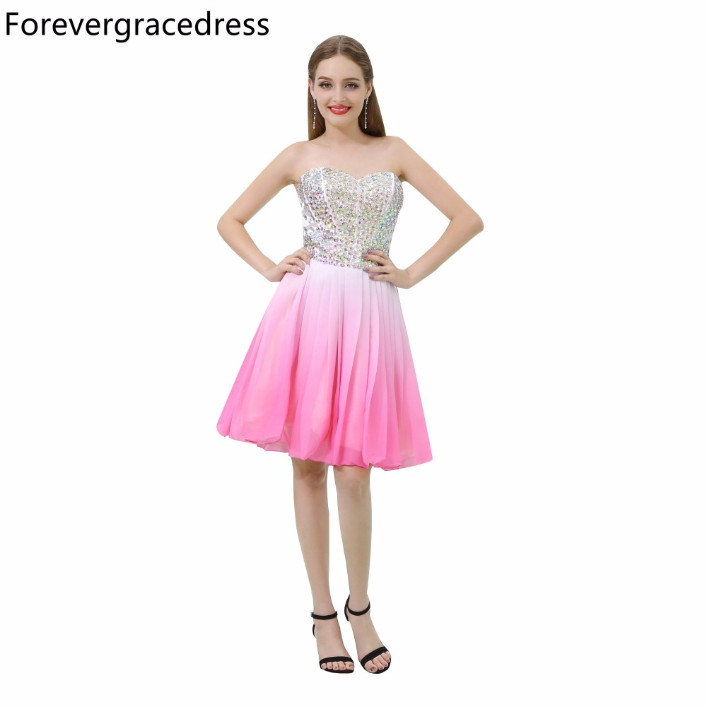Forevergracedress Sexy Short   Prom     Dress   New Arrival Sweetheart Sleeveless Crystals Homecoming Party Gown Plus Size Custom Made