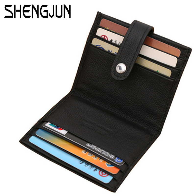 Hasp Business Card Holder Genuine Leather Solid Credit