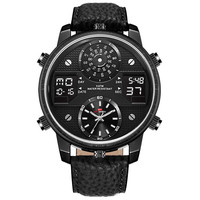 Big Chronograph Men's Watches Leather Strap Digital Quartz Watches Black Face Big Size over 50mm Waterproof 50 Meters