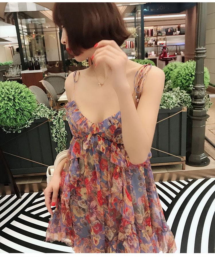 Elegante Impreso Seda Seda Vestido Eslinga Impreso FwvHwqR