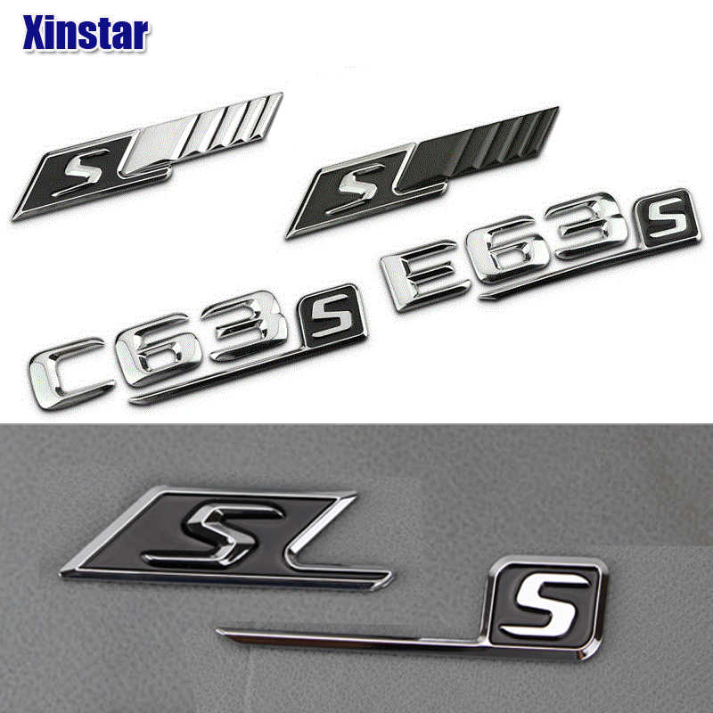 ABS S Badge car rear emblem sticker for Mercedes Benz w117 cla45 w205 c63 w212 e63 w207 w176 a45 x156 gla45 w204 AMG Styling