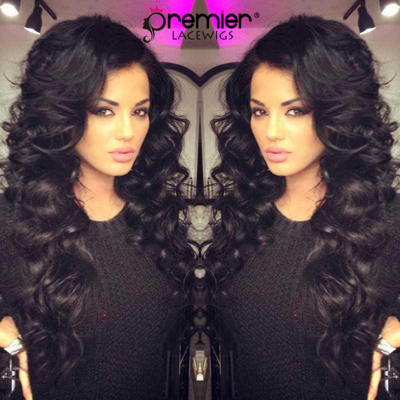 PREMIER LACE WIGS 360 Lace Wigs Deep Wavy Indian Remy Human Hair Lace Wigs,150% Thick Density,Pre Plucked Hairline [360LW16]