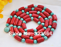 Natural 50 22mm red cylinder coral blue bead necklace
