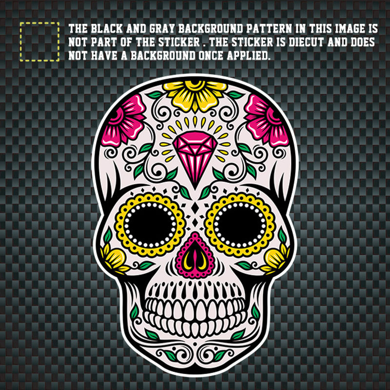 Hot Sell 6 Design 13CM*10CM MEXICAN SUGAR SKULL Reflective Car Sticker Car Window Motorcycle Decals Parts
