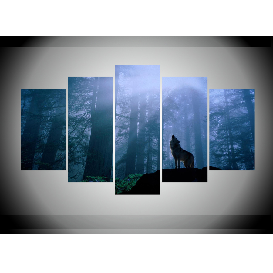 5 Panels Canvas Prints Wolf In Forest Sunset Canvas