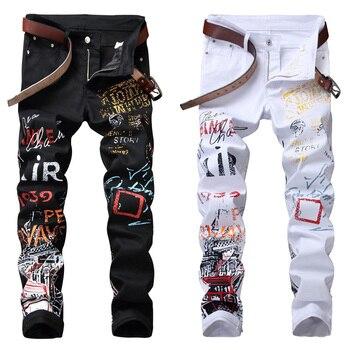 b4482e462c3 Alta calle Moda hombre Jeans noche Club negro blanco diseño Personal  impreso Jeans hombres Punk pantalones Skinny Hip Hop vaqueros