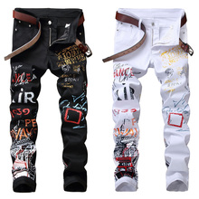 High Street Fashion Mens Jeans Night Club Black White Color Personal Designer Pr