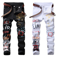 High Street Fashion Mens Jeans Night Club Black White Color Personal Designer Printed Jeans Men Punk Pants Skinny Hip Hop Jeans