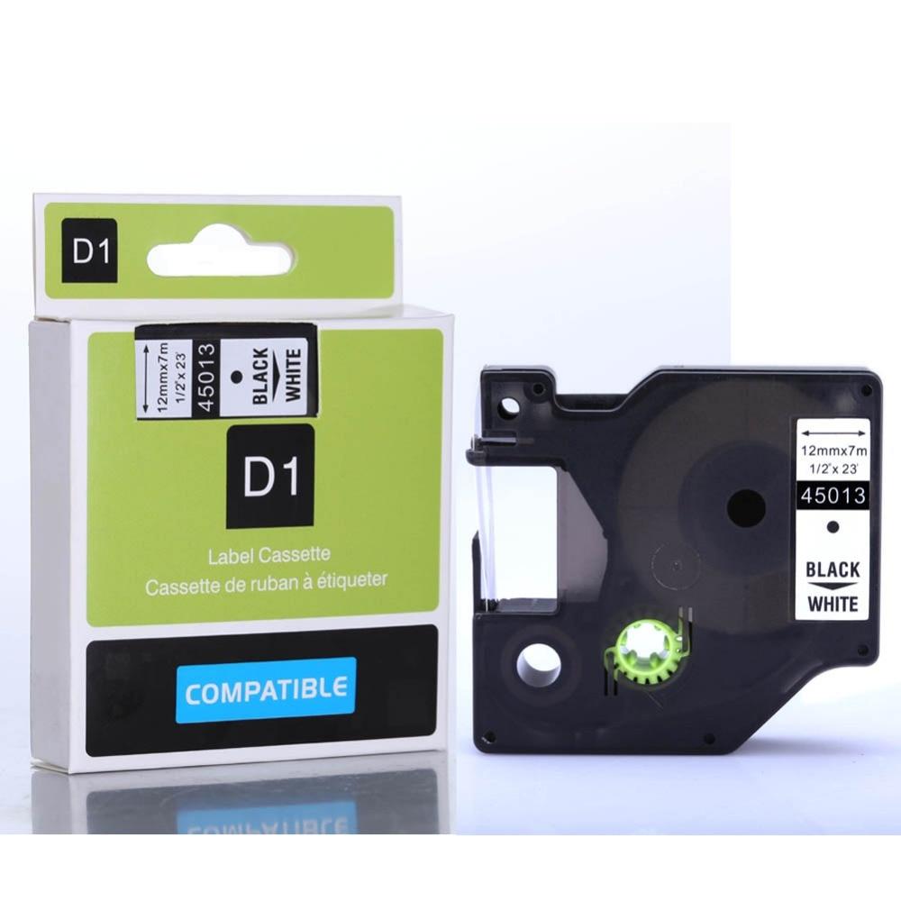 10PK 45013 Black on White Tape Cartridge 12mmx7m For DYMO D1 Label Tape Cassette