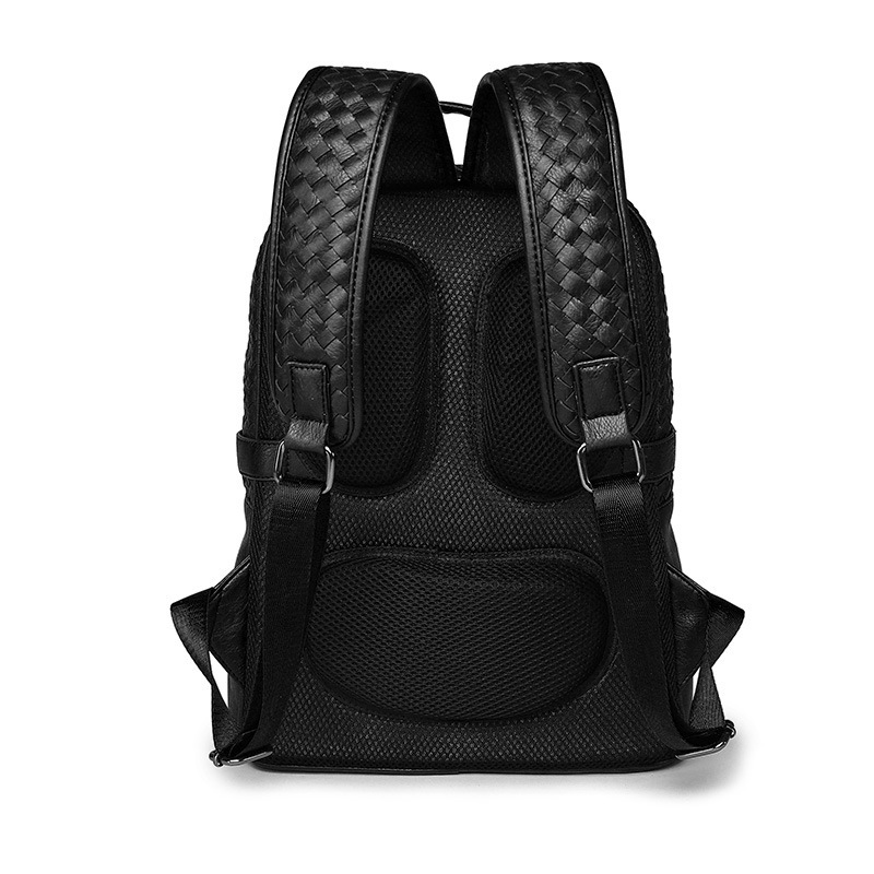 Cool ! Black Leather Backpack Schoolbag Fashion Solid Weave Leather  Backpacks men Large capacity Travel Laptop Backpack mochila -in Backpacks  from Luggage ... ff3fead09000