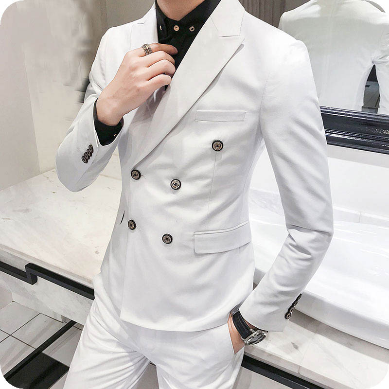 Men Suit for wedding business double breasted peaked lapel (24)