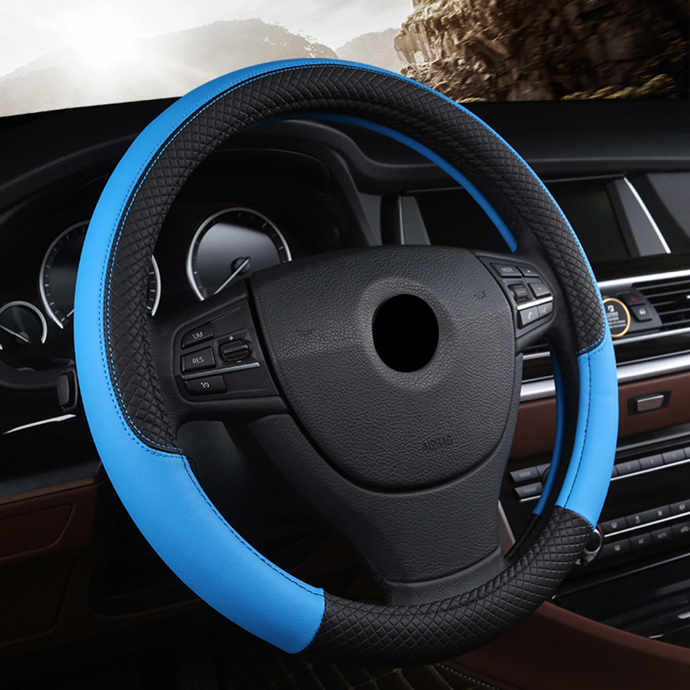 DERMAY Premium Hand-Stitched Leather Steering Wheel Cover