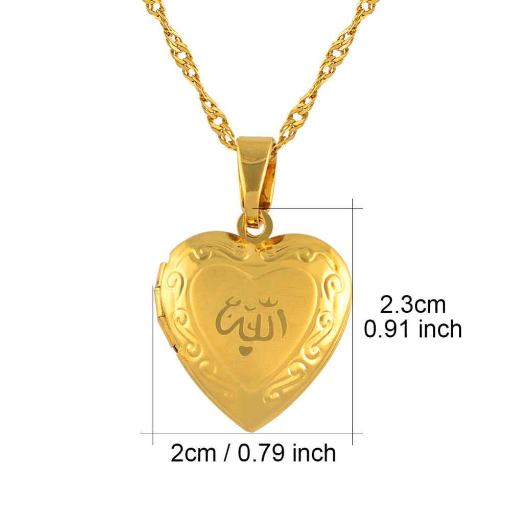 Anniyo ハートアッラーのネックレスのペンダント女性イスラム教徒のジュエリー男性、ゴールドカラーイスラムチェーンネックレス預言者ムハンマド #201902