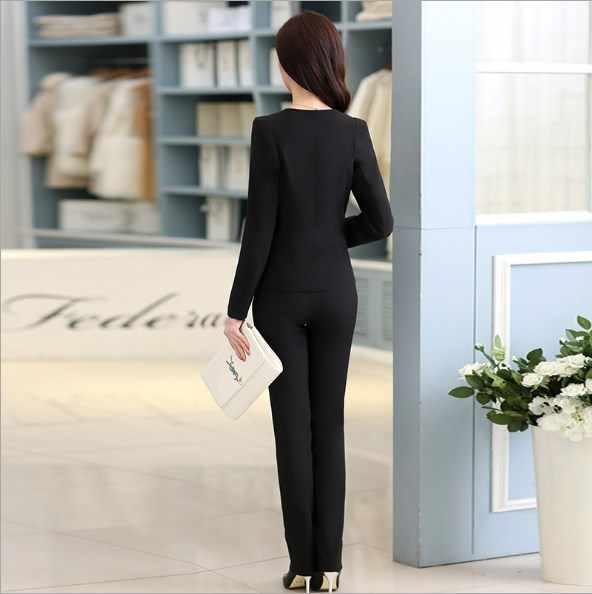 レディースビジネスカジュアルなズボンのスーツ女性のための女性ブレザー + パンツ 2 個セット作業服衣装黒、白ブルーピンク