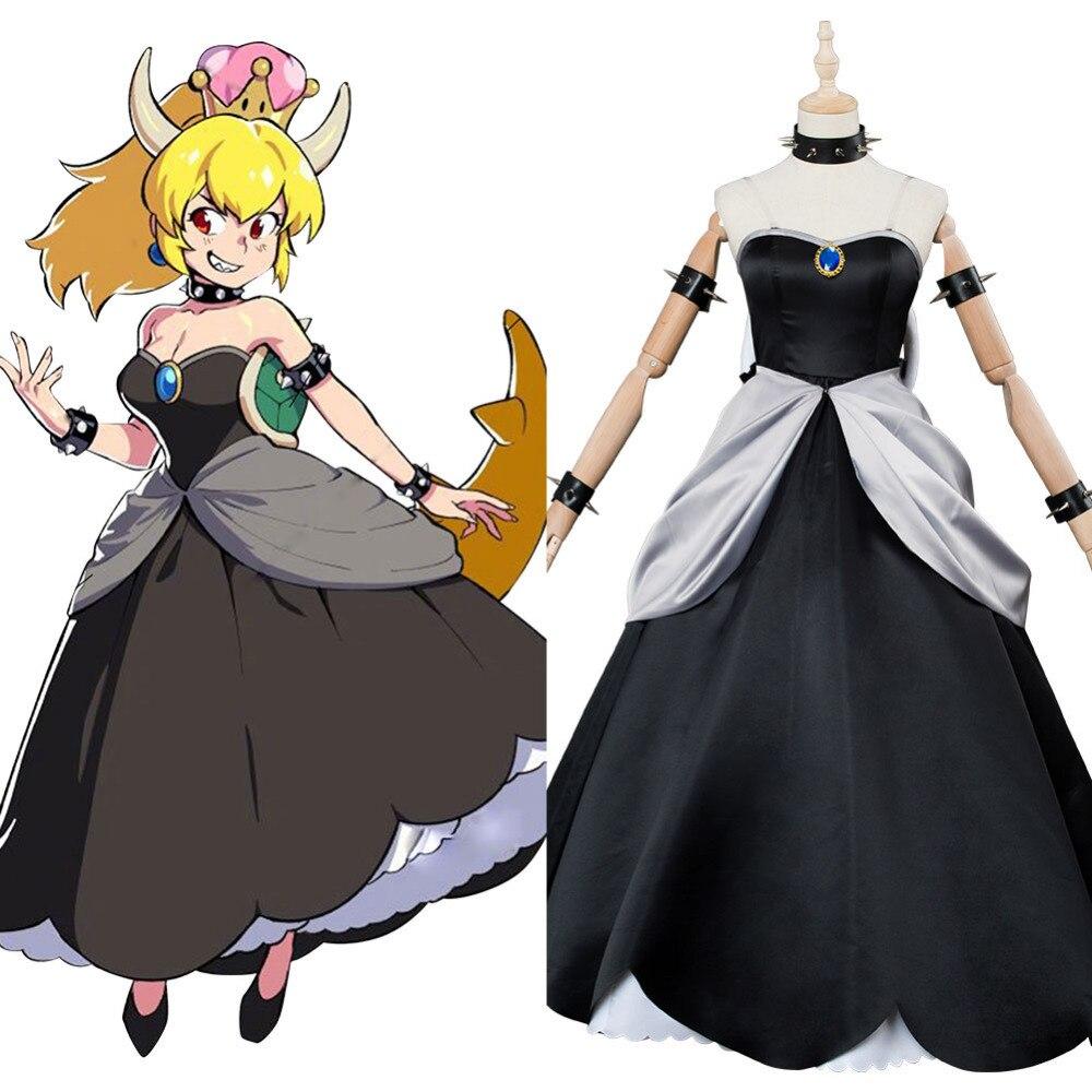 100% Kwaliteit Game Super Mario Prinses Bowsette Cosplay Kostuum Kuppa Koopa Cosplay Vrouwen Halloween Carnaval Kostuums Custom Made