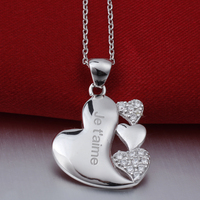 Women S 925 Sterling Silver Pendant Necklace 18 Inch Cable Chain Heart Charm Je T Aime