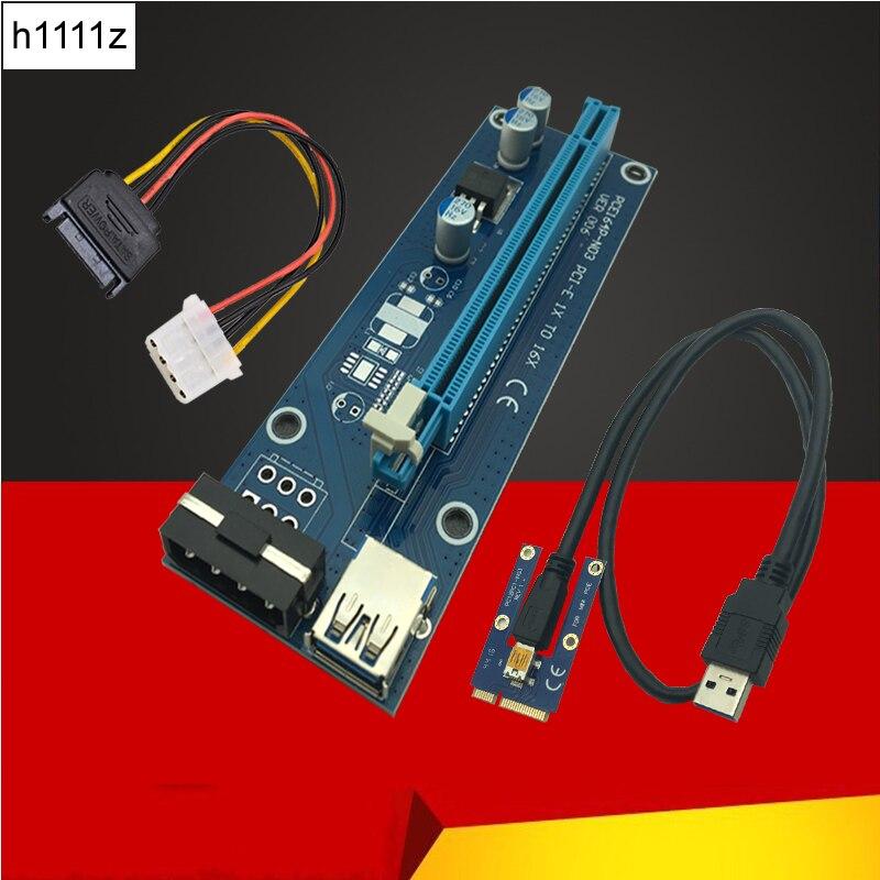 Mini tarjeta vertical PCIe pci-e PCI Express 1x a 16x USB 3.0 cable SATA a 4Pin IDE Molex fuente de alimentación para la máquina del minero de BTC minería