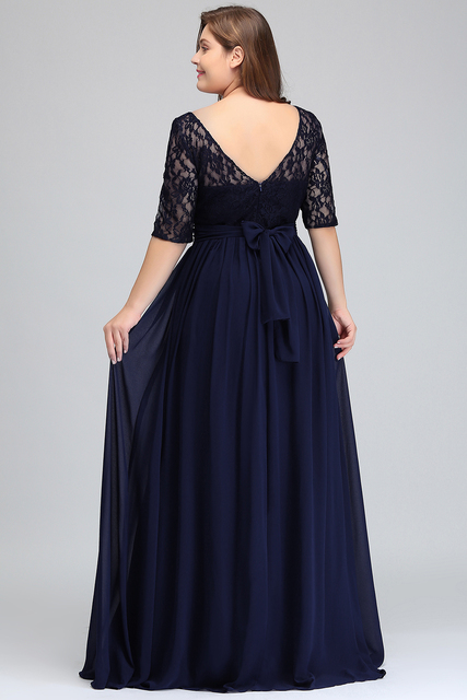 Elegant Half Sleeve Plus Size Lace Long Evening Dress  Sexy Royal Blue V Back Evening Gowns Robe de Soiree Longue 2