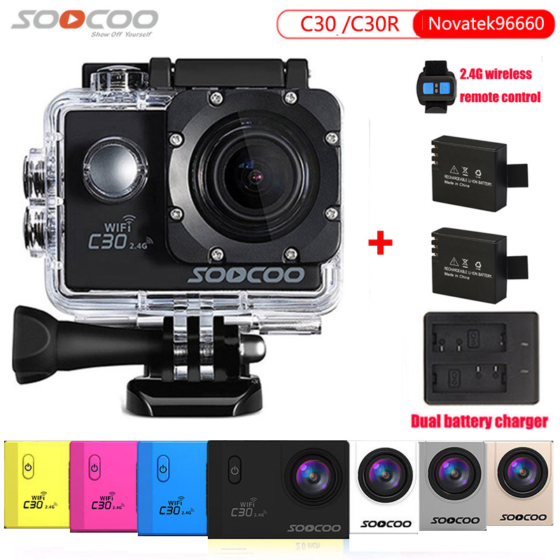Original SOOCOO C30R 2.4G Wireless Remote Action Camera Real Voice Adjustable Angle Fish Eye Waterproof 30m 4K Wifi Sport DV