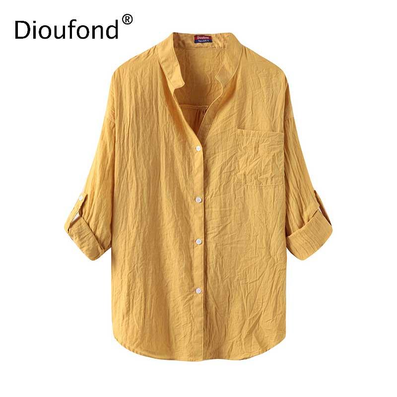 Dioufond Ljeto V-izrez Pamuk Tanke Žene Košulje Tri Četvrt Ženski - Ženska odjeća - Foto 5