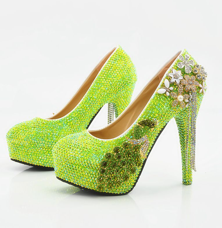 Здесь продается  Super high heels luxury green crystal wedding shoes womens plus size handmade platforms ladies female bar party banquet shoe  Обувь