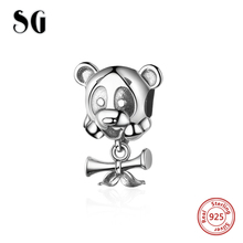 SG 925 Sterling Silver Cute panda Charm Animal Beads Fit Original pandora Bracelet Pendant Authentic DIY Jewelry for women Gift цена
