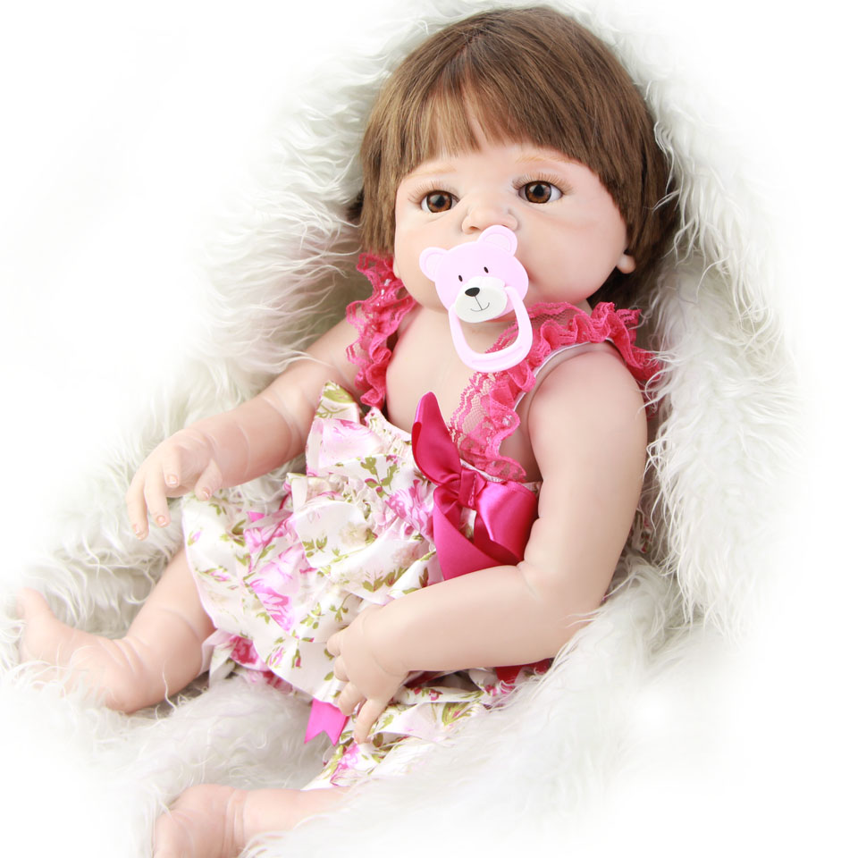 New Reborn Baby Doll Girl 23 Inch Lifelike Baby Dolls with Smooth Hair Full Body Silicone Reborn Bonecas Kids Xmas Gifts dolls reborn 23 inch lifelike princess girl full silicone vinyl newborn baby doll handmade alive bonecas kids christmas gift