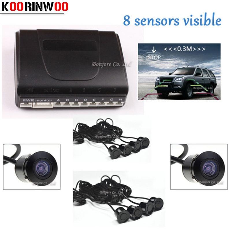 Koorinwoo Ultime Dual Core CPU Sensore di Parcheggio Auto 8 Radar di Inverso Del Sistema con la Macchina Fotografica di retrovisione dell'automobile fotocamera frontale suono di Avviso