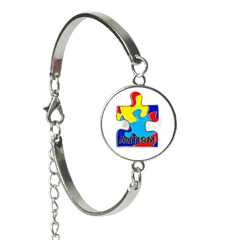 Мода лечение аутизма безусловное любовь стеклянное украшение женский браслет фраза рейтинг фото серебряный браслет дизайн