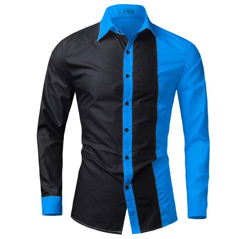 T Bird Brand 2017 Men Shirt Black White Dress Shirt Long Sleeve Slim Fit Camisa Masculina