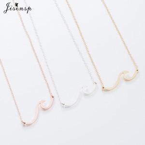 Jisensp волнистое ожерелье из нержавеющей стали, подвеска для пляжа, серфер, украшения для женщин, подвеска в виде волн, ожерелье, воротник