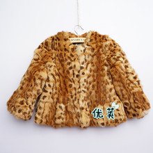 Popular New Fashion Girl's fur jacket coat,Children fur coat round neck leopard fur coat winter coat Free shipping CFB301N