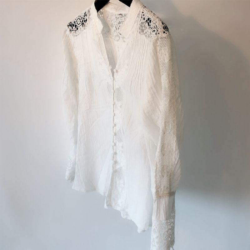 Broderie Tops Blouse Camisa Boho Dentelle Longues Floral Femme V Manches Automne Cou Évider Feminina Femmes Bohème Blanc En Chemises À SP66wa