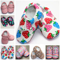 HOT Spring Strawberry Rainbow Leopard PU Leather Baby Moccasins Bulk Shoes Moccs Baby Newborn Soft Sole Footwear Shoes 0-2 Years