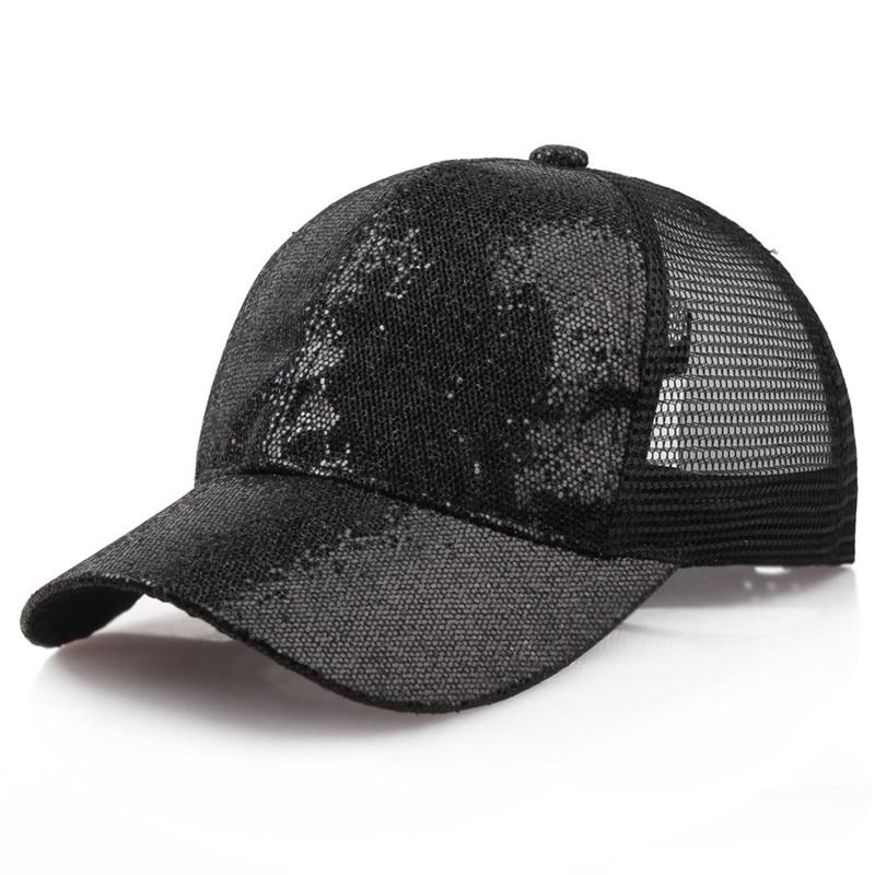 2018 Mode Glitter Pferdeschwanz Messy Bun Baseball Kappe Snapback Hüte Frauen Sommer Hut Einstellbare Hip Hop Hüte Weibliche Mesh Caps #35