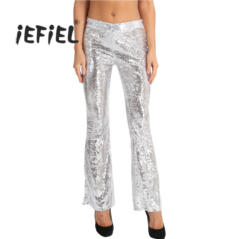 2f2b13d8 Detail Feedback Questions about iEFiEL Women Fashion Glitter Sequins High  Waist Stretchy Bell Bottom Flared Palazzo Pants Trouser for Clubwear  Performance ...