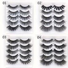 New 5 Pairs Mixed Fake Eyelashes 3D Natural False Lashes Soft Comfortable Eyelash Extension Makeup Kit
