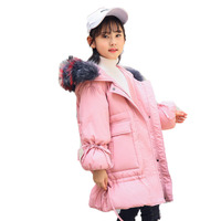 Girls Long Down Coats Children Down Jacket Clothing Real Fur Collar Hooded Parkas Jacket Kids Girls Warm Outerwear Clothes E258