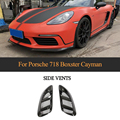 For Porsche 718 Carbon Fiber Front Fender Trim Air Vent for Porsche 718 Boxster Cayman Coupe Convertible 2016 - 2018 Decoration
