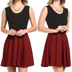 Women Summer Casual Short Sleeveless Patchwork Dreess Evening Party Short Mini Dress New 3