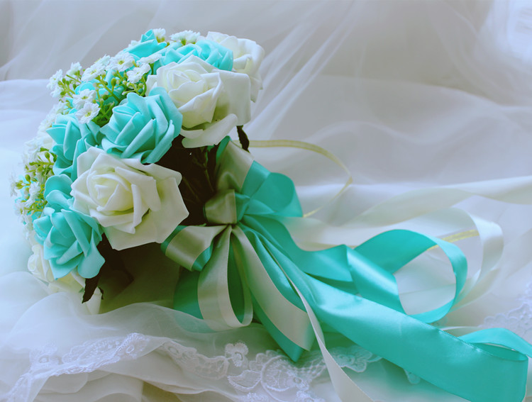 Turquoise Green Ivory Wedding Bouquet Turquoise Flowers Bridal     Turquoise Green Ivory Wedding Bouquet Turquoise Flowers Bridal Bouquet  Wedding Centerpieces Decorations Silk Ribbon Fake Flower in Artificial    Dried
