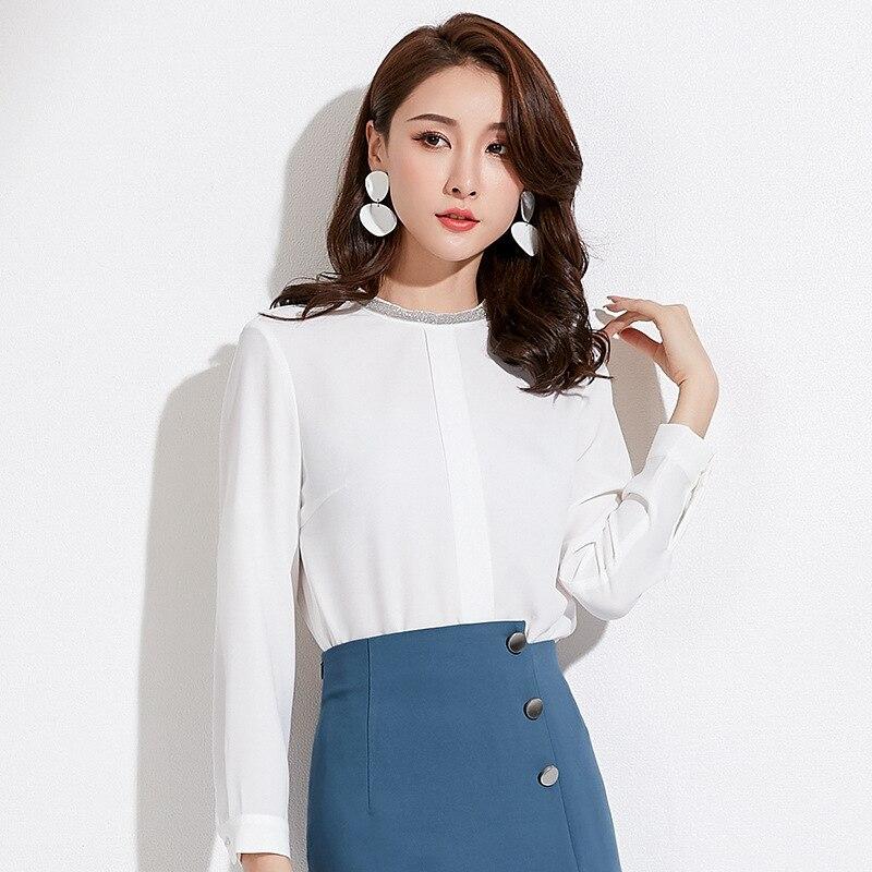 Shuchan White Blouse Women Chiffon Korean Style Ladies White Shirt Solid Beading O neck Womens Tops And Blouses Female