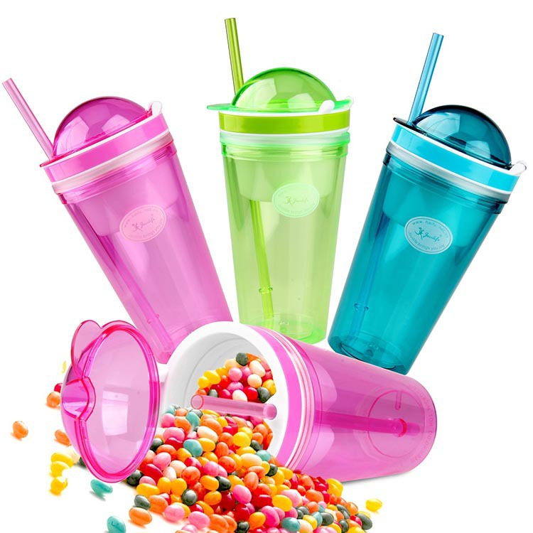 2015 New <font><b>Fashion</b></font> 500ML Children Kids Drink Bottle With Snacks <font><b>Travel</b></font> <font><b>Cup</b></font> Favourate Snack Drink With Lid <font><b>Straw</b></font> Kids Snack Bottle