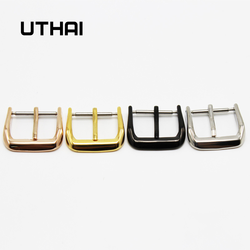 UTHAI T03 Metal Watch Buckle 18-26mm Men Watchband Strap Silver Black Brushed 316L Stainless Steel Clasp Accessories