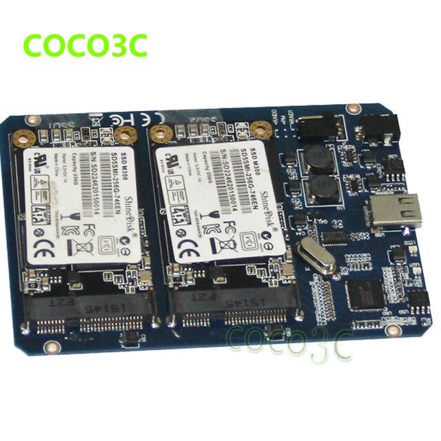 USB 3.1 Tipo-C per 2 MSATA SSD RAID Enclosure USB-C a Doppio mini SATA adattatore mSATA SSD Esterno box + RAID0 RAID1