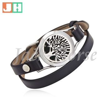 25mm Essential oil diffuser bracelet 316L stainless steel twist locket bracelet with genuine leather band match free pads